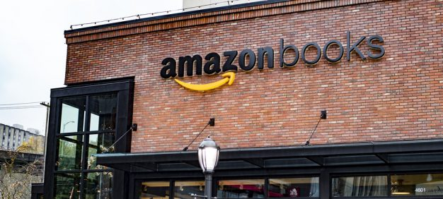 Seattle, Washington, USA - November 13, 2015: Amazon opens its first real life brick and mortar bookstore called Amazon Books in Seattle's University Village